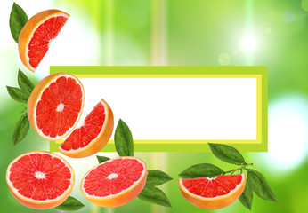 Wall Mural - Fruits frame ,citrus frame,background space for text.Summer card