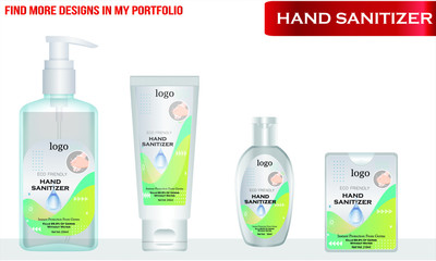 Wall Mural - Different types of Hand sanitizer with label design. Packaging design. Advertising of hand sanitizer. Hand disinfectant. Personal hygiene. vector Illustration