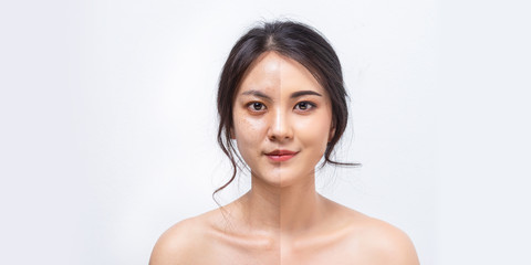Comparison Asian women before and after applying makeup, Portrait asian girl compare fresh skin and makeup. Wall mural