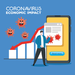 coronavirus 2019 ncov impact global economy, covid 19 virus make down economy, world economic impact covid 19, man with business statistic down vector illustration design
