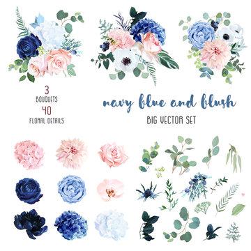 Classic navy blue, white, blush pink rose, hydrangea, ranunculus, orchid