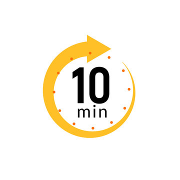 10 minutes clock quick number icon. 10min time circle icon
