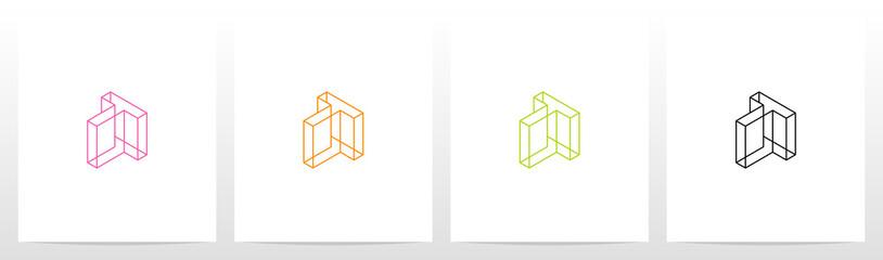 Fototapeta Cubic Wireframe Letter Logo Design T obraz