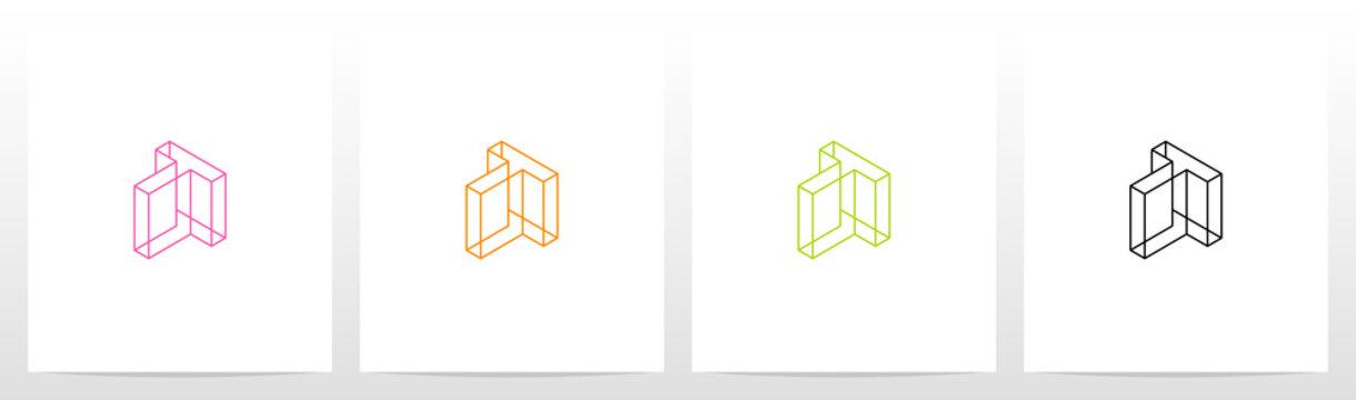 Cubic Wireframe Letter Logo Design T