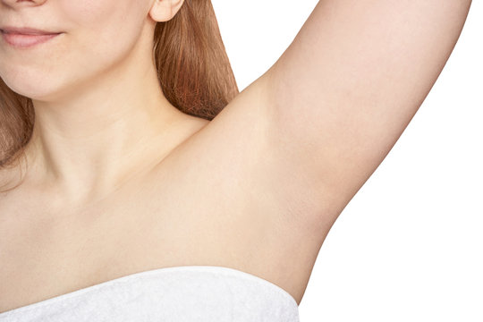 Girl underarm. White woman armpit. After epilation collage. Wax depilation result concept. Laser hair removal. sugaring spa procedure. Health care home routine. IPL treatment. Isolated