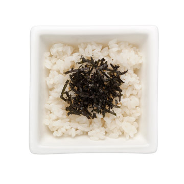 Japanese rice with seaweed topping