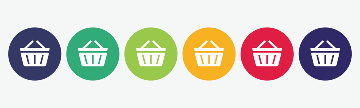 Collection of 6 buttons with basket icon. Vector illustration.