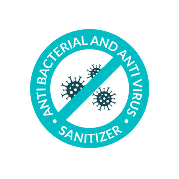 Antibacterial covid sign icon. Hand sanitizer gel infection formula. Anti bacterial logo label