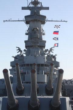 Front of USS Battleship Alabama with guns