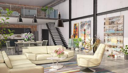3d Illustation eines modernen, großen, lichtdurchfluteten Lofts mit Küche, Wohn- und Schlafbereich, sowie einer Galerie