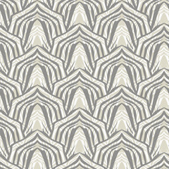 Seamless geometric pattern in art Deco style. Grey, beige pattern.