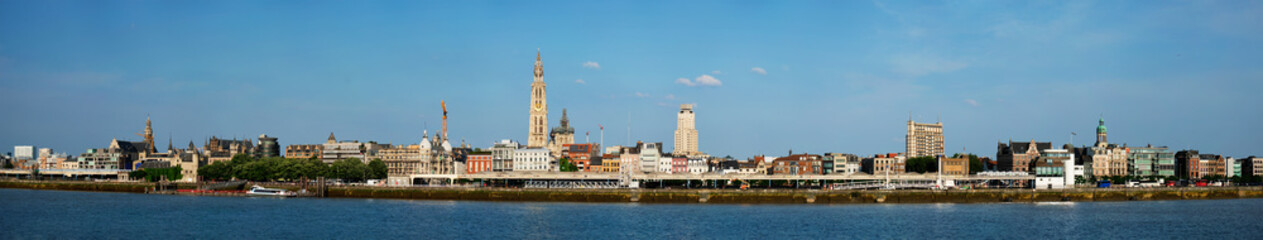 Panorama of Antwerp over the River Scheldt with Cathedral of Our Lady Onze-Lieve-Vrouwekathedraal Antwerpen, Belgium.