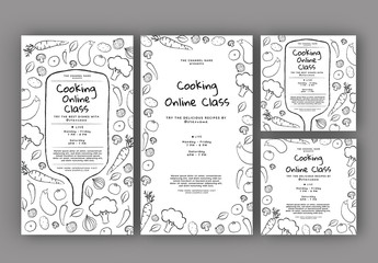 Online Cooking Classes Social Media Layout Set