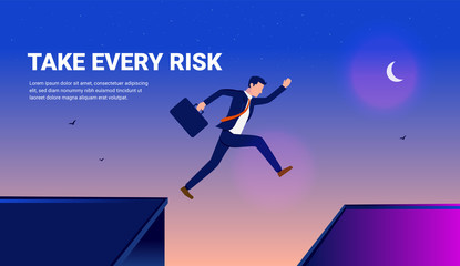 Take every risk in business - Man jumping over buildings in a dangerous attempt to reach success. Night sky, stars and moon, and text space. Courage, challenge comfort zone, risk and reward concept.