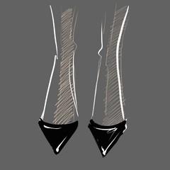 illustration black classic shoes on female legs graphic Design