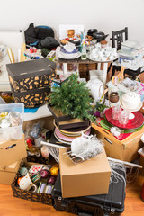 Messy room full of clutter and junk - Compulsive hoarding disorder