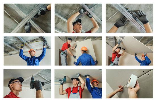 Installing drywall.
