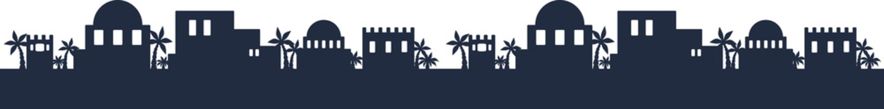 Vector Bethlehem Skyline Silhouette Seamless Pattern Border