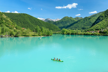 Kayaking on Soca River in Most na Soci, Slovenia.