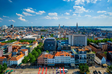 Aerial view of Antwerp city cetner with Cathedral of Our Lady Antwerp, Belgium