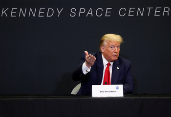 U.S. President Trump attends launch of SpaceX Falcon 9 rocket at the Kennedy Space Center in Cape Canaveral, Florida