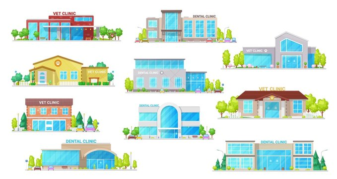 Dental and vet clinic building vector icons with dentistry and veterinary medicine hospitals. Dentist and veterinarian doctor office exterior facades with windows, doors, trees and car parkings