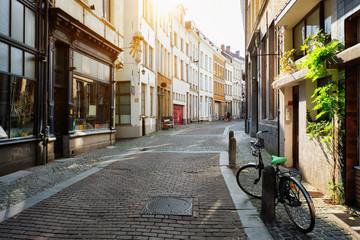 Antwerp street with row of old houses, Belgium