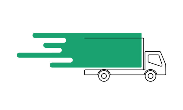 Vector of line art delivery truck or van with green abstract image showing driving or speed isolated against a white background. Illustration is blank with copy space with room for text or logos.