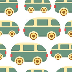 Kids toy vector seamless pattern. Car background. Childrens colorful texture  for wrapping, wallpaper, textile. Green, red, orange, brown colors.