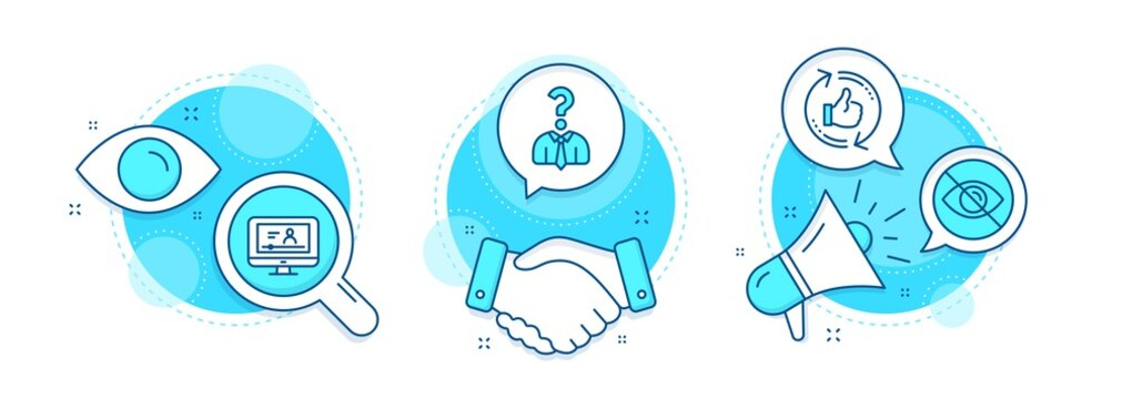 Online video, Hiring employees and Not looking line icons set. Handshake deal, research and promotion complex icons. Refresh like sign. Video exam, Human resources, Eye care. Thumbs up counter. Vector