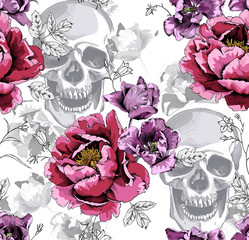 Seamless floral pattern. Pink Peony,  Violet Tulips flowers and silver gray skulls on a monochrome white background. Vector illustration.