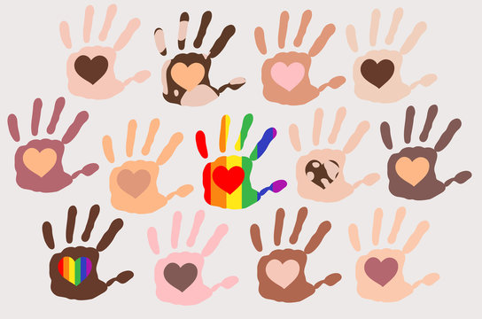 Different skin types colour hand prints with hearts inside each palm on light background, people Diversity, rainbow symbol, vitiligo