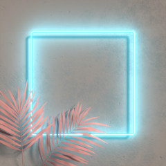 Stores à enrouleur Kiev Creative fluorescent color layout made of tropical leaves. Flat lay neon colors. Nature concept. Wall texture summer background.