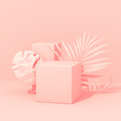 Exotic plants with geometrical shapes. Tropical layout mockup. Background with painted palm and monstera leaves. Minimal pink concept art. 3D Render.
