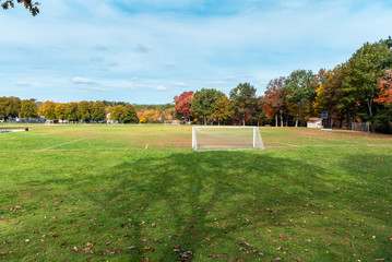 Deserted football pitch surrounded by woods in a park during the autumn colours season