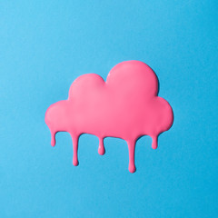 Wall Mural - Creative minimal vivid dripping pink cloud. Colorful paint background.