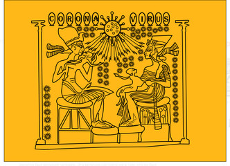 Illustration of ancient egyptian art with the theme of coronavirus