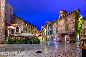 Empty Night Fruit square in the Diocletian Palace section of Medieval Old town of Split, Croatia