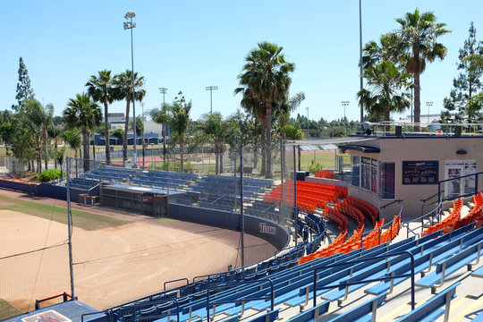 FULLERTON CALIFORNIA - 22 MAY 2020: Anderson Family Field Press Box, on the campus of California State University Fullerton, CSUF.