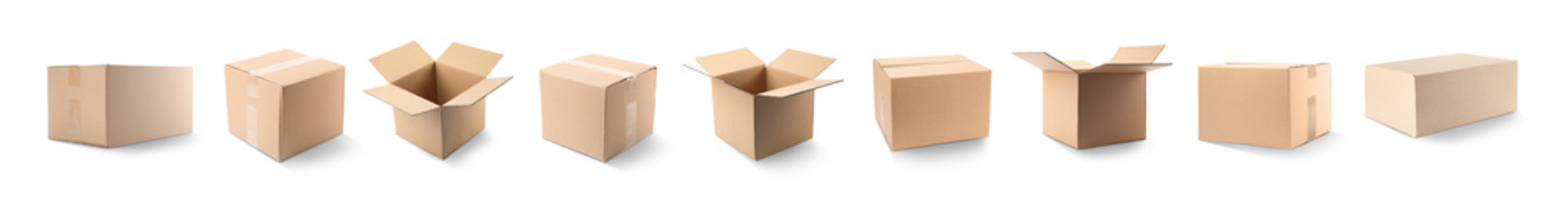 Set of different cardboard boxes on white background. Banner design