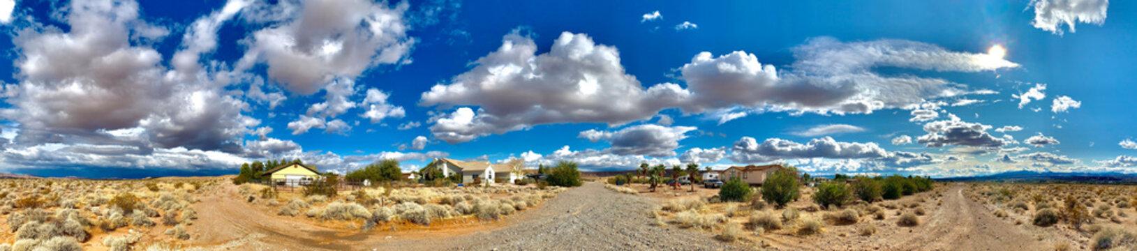 Desert, skies, houses, roads in Overton, Nevada