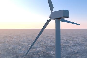Wind turbine propeller. Offshore wind turbines. 3D illustration