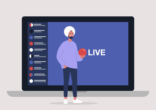 Live streaming event, young indian male character holding a red sphere and performing in front of the laptop camera, remote activities