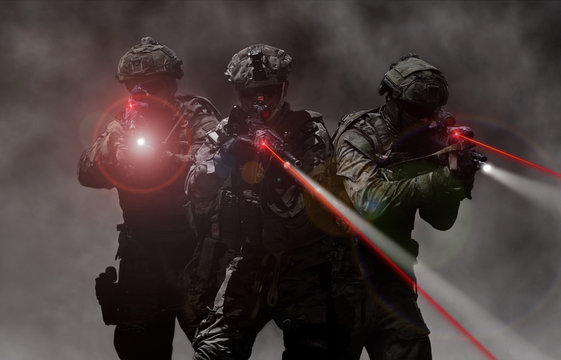 Military special unit commandos assult team during a mission