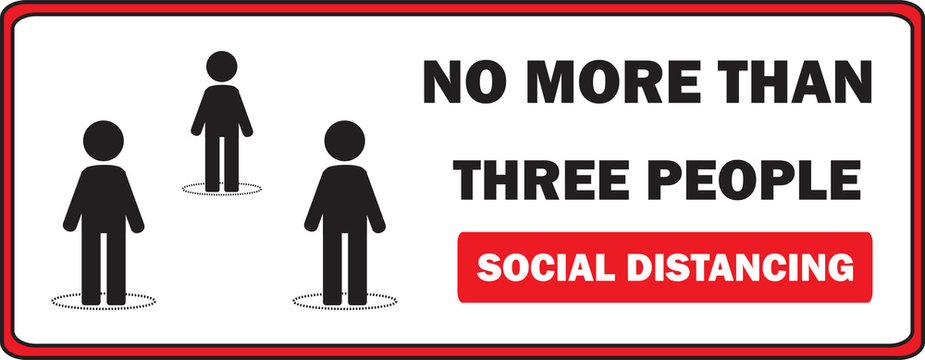 Maximum three people allowed in the shop lift or elevator store at one time signage, sign for shops to protect from Coronavirus or Covid-19 vector graphic. Social distancing