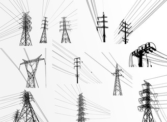 Fototapeta Vector. Electric power system. presentation, and advertisement. The picture shows a network of interconnected electrical systems in all areas. Symbols, steps for successful business planning Suit obraz