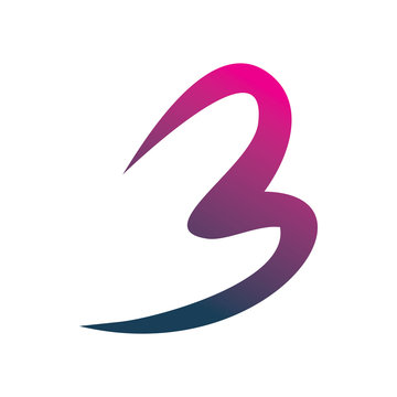 full color letter b number three 3 logo design