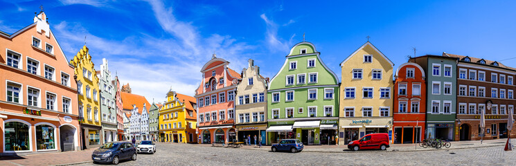 Landshut, Bavaria - April 15: historic gothic facades at the famous old town of Landshut on April 15, 2020