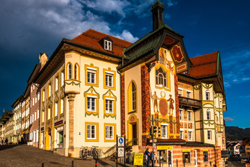 Bad Toelz, Germany - March 30: the famous old facades with historic murals in the old town on March 30, 2020 in Bad Toelz, Germany