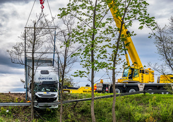 Irschenberg, Germany - April 30: Truck accident with crane at the higway A8 - Irschenberg on April 30, 2020